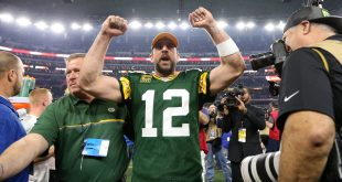 Jan 15, 2017; Arlington, TX, USA; Green Bay Packers quarterback Aaron Rodgers (12) celebrate after beating the Dallas Cowboys in the NFC Divisional playoff game at AT&T Stadium. Mandatory Credit: Matthew Emmons-USA TODAY Sports