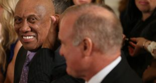 Jan 16, 2017; Washington, DC, USA; Baseball hall of fame member and former Chicago Cubs pitcher Ferguson Jenkins (L) smiles while sitting in the audience prior to a ceremony honoring the 2016 World Series Champion Chicago Cubs in the East Room at the White House. Mandatory Credit: Geoff Burke-USA TODAY Sports
