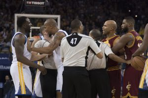 January 16, 2017; Oakland, CA, USA; Cleveland Cavaliers forward Richard Jefferson (24) argues with Golden State Warriors forward Draymond Green (23) after colliding with Cavaliers forward LeBron James (23, not pictured) during the second quarter at Oracle Arena. Mandatory Credit: Kyle Terada-USA TODAY Sports