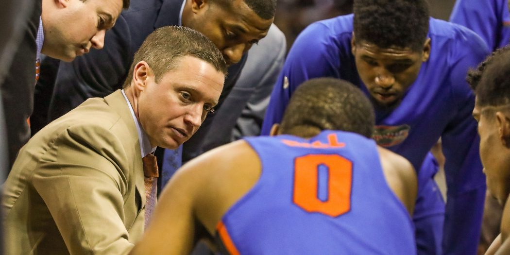 Jan 18, 2017; Columbia, SC, USA; Florida Gators head coach Mike White talks with his team during a time out against the South Carolina Gamecocks during the first half at Colonial Life Arena. Mandatory Credit: Jim Dedmon-USA TODAY Sports