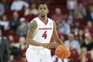 Jan 21, 2017; Fayetteville, AR, USA; Arkansas Razorbacks guard Daryl Macon (4) dribbles in the first half against the LSU Tigers at Bud Walton Arena. Mandatory Credit: Nelson Chenault-USA TODAY Sports