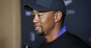 January 23, 2017; Pacific Palisades, CA, USA; Tiger Woods speaks with local news following media day for the Genesis Open at The Riviera Country Club. Mandatory Credit: Gary A. Vasquez-USA TODAY Sports