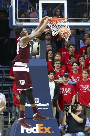 Jan 25, 2017; Oxford, MS, USA; Texas A&M Aggies forward Robert Williams (44) dunks the ball during the first half against the Mississippi Rebels at The Pavilion at Ole Miss. Mandatory Credit: Spruce Derden-USA TODAY Sports