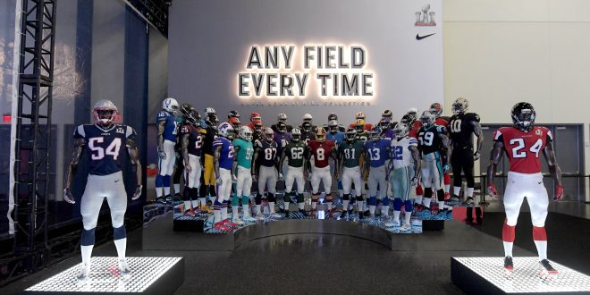 a47c9a4e Jan 30, 2017; Houston, TX, USA; General overall view of Nike display  featuring mannequins with the uniforms and helmets New England Patriots  linebacker ...