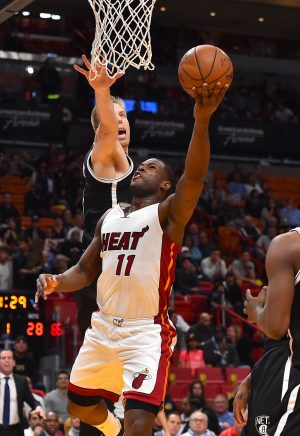 Jan 30, 2017; Miami, FL, USA; Miami Heat guard Dion Waiters (11) drives the ball to the lane against the Brooklyn Nets during the first half at American Airlines Arena. Mandatory Credit: Jasen Vinlove-USA TODAY Sports