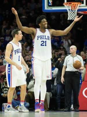 Jan 18, 2017; Philadelphia, PA, USA; Philadelphia 76ers center Joel Embiid (21) reacts as time winds down in the fourth quarter against the Toronto Raptors at Wells Fargo Center. The Philadelphia 76ers won 94-89. Mandatory Credit: Bill Streicher-USA TODAY Sports
