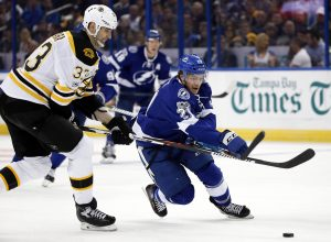 Jan 31, 2017; Tampa, FL, USA; Tampa Bay Lightning center Brayden Point (21) skates with the puck as Boston Bruins defenseman Zdeno Chara (33) defends during the second period at Amalie Arena. Mandatory Credit: Kim Klement-USA TODAY Sports