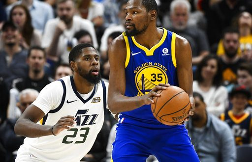 5c1784961b1c Utah Jazz forward Royce O Neale (23) guards Golden State Warriors forward Kevin  Durant (35) in the second half of an NBA basketball game Tuesday