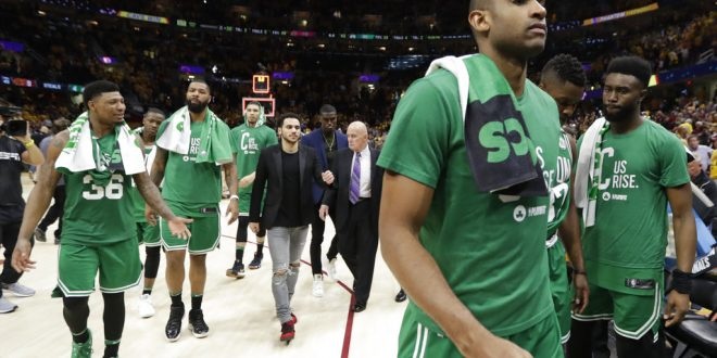 b48887a0490f Boston Celtics  Al Horford walks off the court at the end of Game 3 of the  team s NBA basketball Eastern Conference finals against the Cleveland  Cavaliers