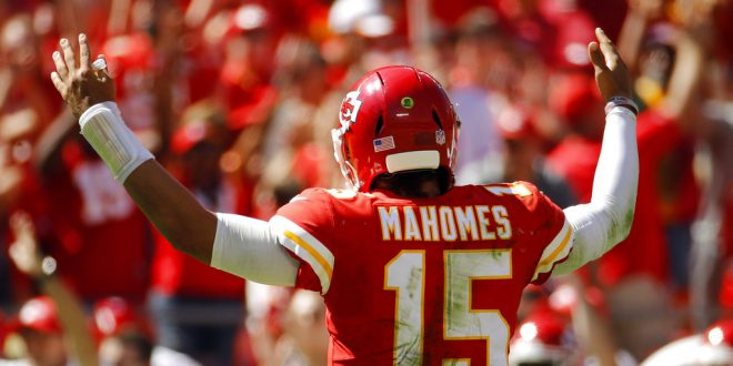 ece73303099 Kansas City Chiefs quarterback Patrick Mahomes (15) celebrates after his  third touchdown pass of the game during the first half of an NFL football  game ...