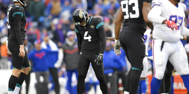 Jacksonville Jaguars kicker Josh Lambo (4) reacts after missing a field  goal against the Buffalo Bills during the second half of an NFL football  game a392d3c94