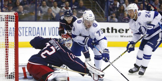 0586a3be80e Columbus Blue Jackets' Sergei Bobrovsky, left, of Russia, makes a save  against Tampa Bay Lightning's Adam Erne during the third period of Game 3  of an NHL ...