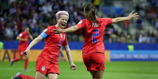 1c402c1aab2 United States' Megan Rapinoe, left, and United States' scorer Mallory Pugh,  right, celebrate their side's 11th goal during the Women's World Cup Group  F ...