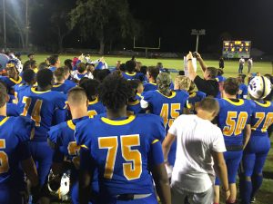 Coach Edward Johnson addresses his Panthers after concluding their season with a 2OT win against Fort White.