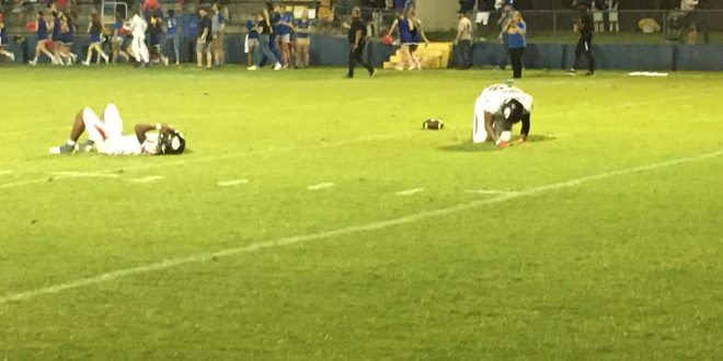 Fort White players react to their Indians coming up just short against the Newberry Panthers in Double Overtime.