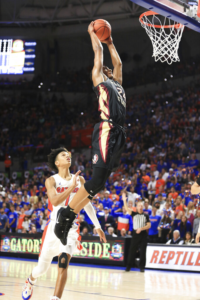 Florida State's sophomore guard, Devin Vassell had several highlight-reel worthy plays, and he also played very good defense in his team's win over Florida. (Photo: Matt Stamey/Associated Press via WRUF.)