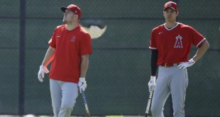 Los Angeles Angels' Mike Trout, left, and Shohei Ohtani watch batting practice during spring training baseball practice, Monday, Feb. 17, 2020, in Tempe, Ariz. (AP Photo/Darron Cummings)