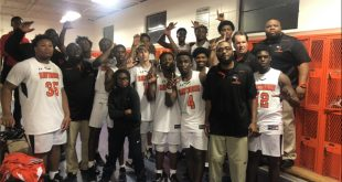 Hawthorne boys' basketball celebrates win in locker room