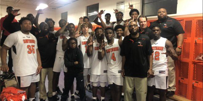 Hawthorne boys' basketball celebrates win in locker room