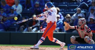 Gators' shortstop hits ball