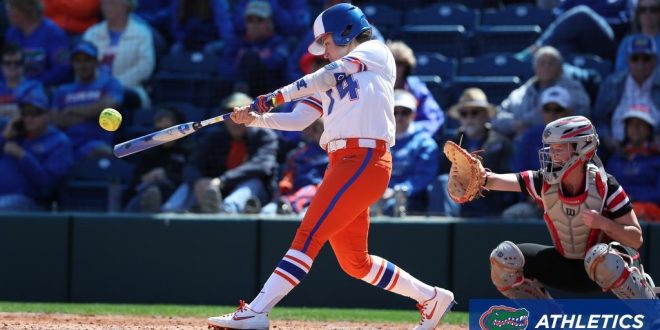 Gators' shortstop hits ball