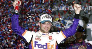 NASCAR driver Hamlin celebrates