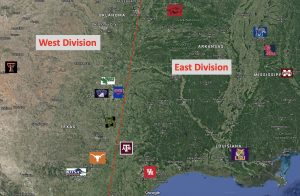 Realignment SWC Divisions Mapped