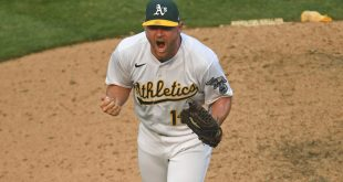 A's pitcher Liam Hendriks celebrates strikeout