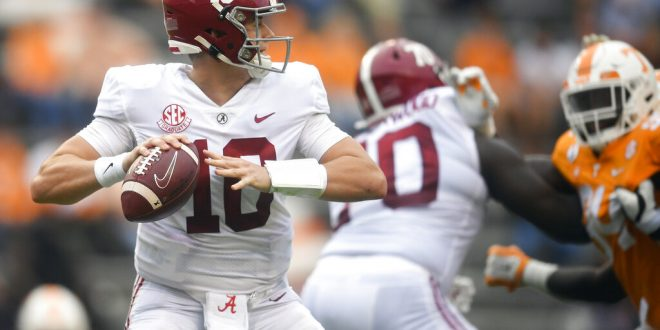 Alabama quarterback Mac Jones against Tennessee Football