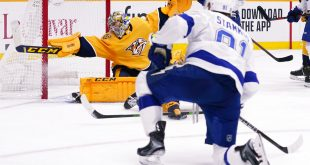 Tampa Bay Lightning Center Steven Stamkos scores in the third period against the Nashville Predators