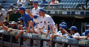 Gators celebrate in dugout