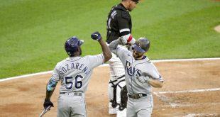 Tampa Bay Rays celebrate after scoring